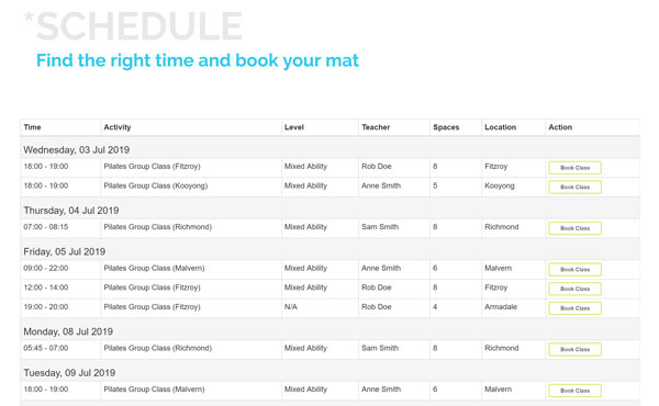 Add the schedule to your website