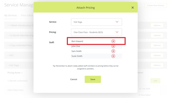 How to link staff to pricing